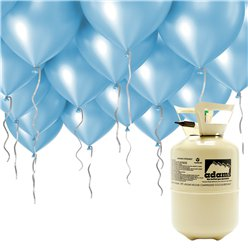 "Helium Canister Including 30 x 9"" Blue Balloons & Ribbons"