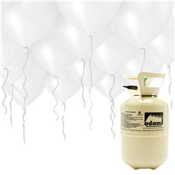 "Helium Canister Including 30 x 9"" White Balloons & Ribbons"