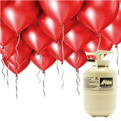 "Helium Canister Including 30 x 9"" Red Balloons & Ribbons"