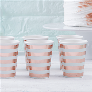 Hello World Rose Gold Foil Cups - 255ml Paper Party Cups