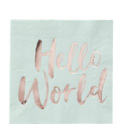 Hello World Rose Gold Foil Paper Napkins - 33cm