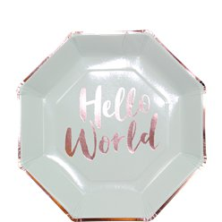 Hello World Rose Gold Foil Plates - 25cm Paper Party Plates