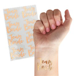 Rose Gold 'Team Bride' Temporary Tattoos - 4cm