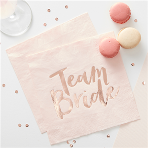 'Team Bride' Rose Gold Paper Napkins - 33cm