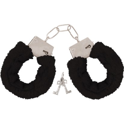 Black Furry Handcuffs  - Hen Party Accessories front