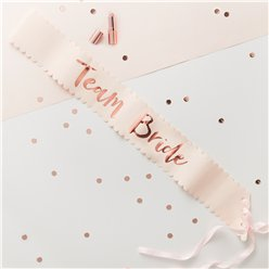 'Team Bride' Rose Gold Foiled Paper Sashes