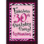30th Birthday Invitation cards - Another Year of Fabulous - Medium