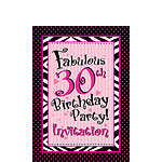 30th Birthday Invitation cards - Another Year of Fabulous - Small