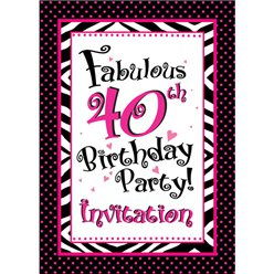 40th Birthday Invitation cards - Another Year of Fabulous - Small