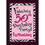 50th Birthday Invitation cards - Another Year of Fabulous - Medium