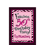 50th Birthday Invitation cards - Another Year of Fabulous - Small