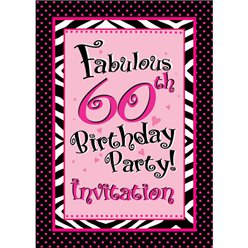 60th Birthday Invitation cards - Another Year of Fabulous - Small