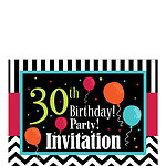 30th Birthday Invitation cards - Chevrons and Stripes - Small