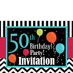 50th Birthday Invitation cards - Chevrons and Stripes - Medium