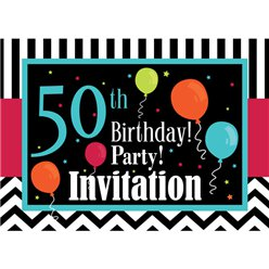 50th Birthday Invitation cards - Chevrons and Stripes - Small