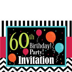 60th Birthday Invitation cards - Chevrons and Stripes - Medium