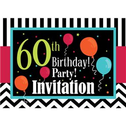 60th Birthday Invitation cards - Chevrons and Stripes - Small