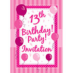 13th Birthday Invitation Cards - Perfectly Pink - Medium