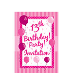 13th Birthday Invitation Cards - Perfectly Pink - Small
