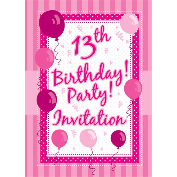 Perfectly Pink Party 13th Birthday Party – 13 Birthday Invitations