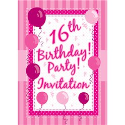 16th Birthday Invitation Cards - Perfectly Pink - Medium