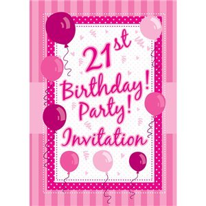 21st Birthday Invitation Cards - Perfectly Pink - Medium