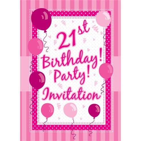 21st birthday invitation cards perfectly pink medium party