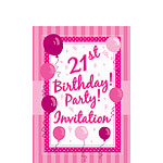 21st Birthday Invitation Cards - Perfectly Pink - Small