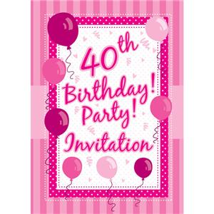 40th Birthday Invitation Cards - Perfectly Pink - Medium