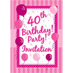40th Birthday Invitation Cards - Perfectly Pink - Small