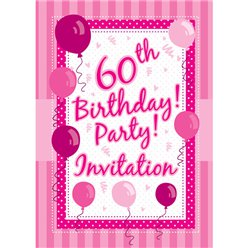 60th Birthday Invitation Cards - Perfectly Pink - Small