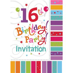 16th Birthday Invitation Cards - Radiant - Small