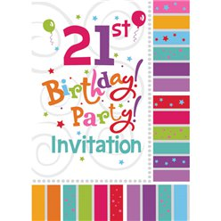 21st Birthday Invitation Cards - Radiant - Medium