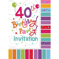 40th Birthday Invitation Cards - Radiant - Small