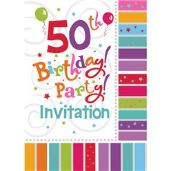 50th Birthday Invitation Cards - Radiant - Small