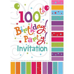 100th Birthday Invitation Cards - Radiant - Medium