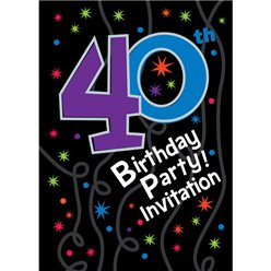 40th Birthday Invitation cards - The Party Continues - Small