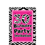 30th Birthday Invitation cards - The Zebra Party - Small