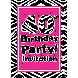 40th Birthday Invitation cards - The Zebra Party - Small