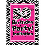 50th Birthday Invitation cards - The Zebra Party - Medium
