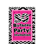 50th Birthday Invitation cards - The Zebra Party - Small