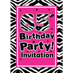 65th Birthday Invitation cards - The Zebra Party - Small