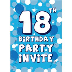 18th Birthday Invitation cards - Blue Sparkle  - Medium