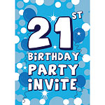 21st Birthday Invitation cards - Blue Sparkle  - Medium