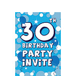 30th Birthday Invitation cards - Blue Sparkle  - Small