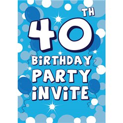 40th Birthday Invitation cards - Blue Sparkle  - Medium