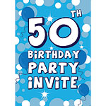 50th Birthday Invitation cards - Blue Sparkle  - Medium
