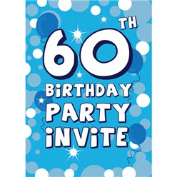 60th Birthday Invitation cards - Blue Sparkle  - Medium