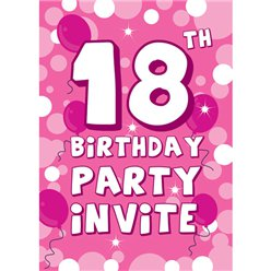 Pink Sparkle 18th Birthday Invitation cards - Medium