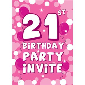 21st Birthday Invitation cards - Pink Sparkle  - Medium